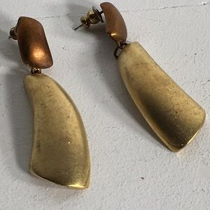 Vintage Two Tone Signed Pierced Earrings
